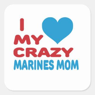 Amo a mi mama loca de los infantes de marina calcomanía cuadrada