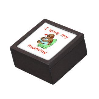 Amo a mi mamá los perritos caja de recuerdo de calidad