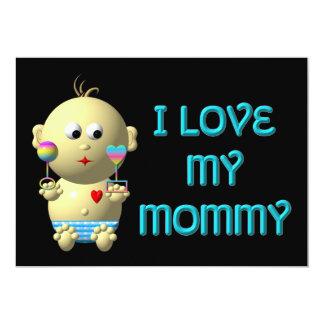 """Amo a mi mamá que despide al bebé con el corazón y invitación 5"""" x 7"""""""
