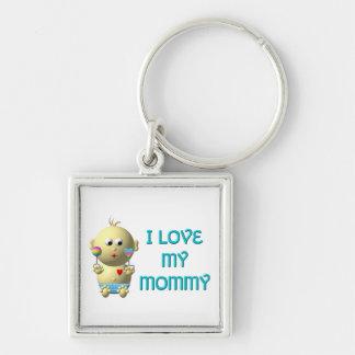 Amo a mi mamá que despide al bebé con el corazón y llavero cuadrado plateado