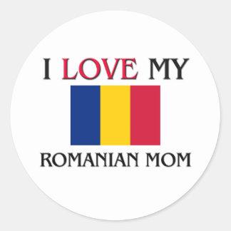 Amo a mi mamá rumana pegatina redonda