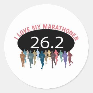 Amo a mi Marathoner Pegatina Redonda