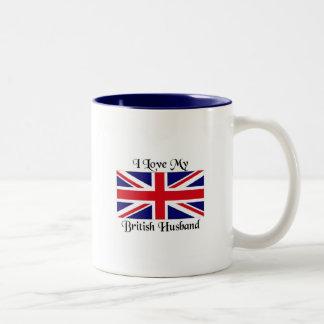 Amo a mi marido británico taza de dos tonos