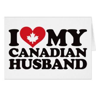 Amo a mi marido canadiense tarjeta de felicitación