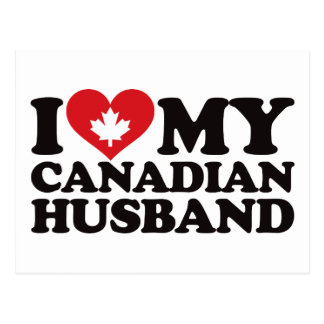 Amo a mi marido canadiense tarjeta postal