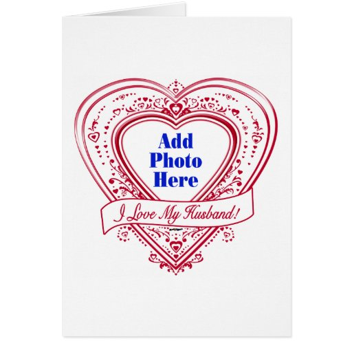 ¡Amo a mi marido! Corazones del rojo de la foto Tarjeta