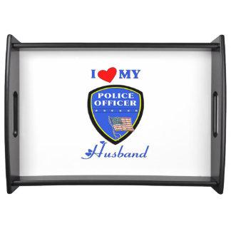 Amo a mi marido de la policía bandeja