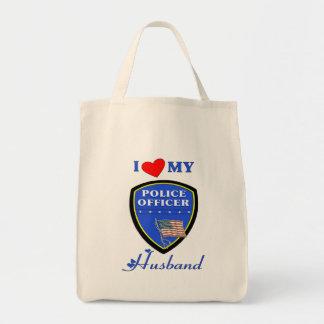 Amo a mi marido de la policía bolsa tela para la compra