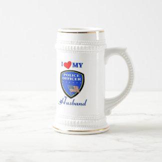 Amo a mi marido de la policía jarra de cerveza