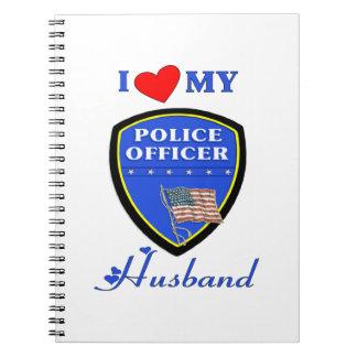 Amo a mi marido de la policía libro de apuntes con espiral