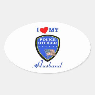Amo a mi marido de la policía pegatina ovalada