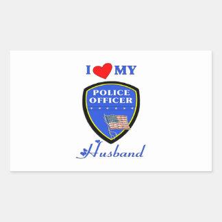 Amo a mi marido de la policía pegatina rectangular