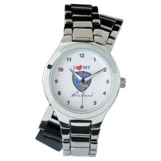 Amo a mi marido de la policía reloj de mano