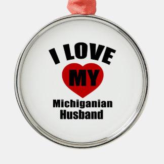 Amo a mi marido de Michiganian Adorno Navideño Redondo De Metal