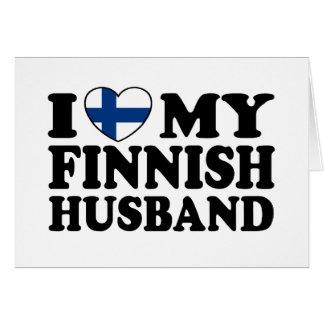 Amo a mi marido finlandés tarjeta de felicitación