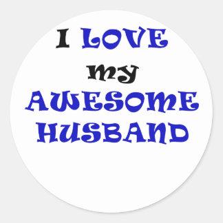 Amo a mi marido impresionante pegatina redonda