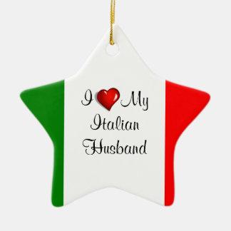 Amo a mi marido italiano adorno de cerámica en forma de estrella