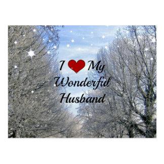 Amo a mi marido maravilloso (un texto más grande) tarjetas postales