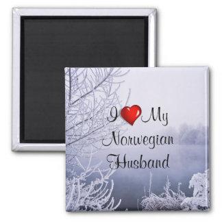 Amo a mi marido noruego imán cuadrado