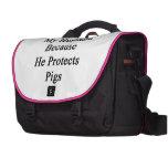 Amo a mi marido porque él protege cerdos bolsa de ordenador