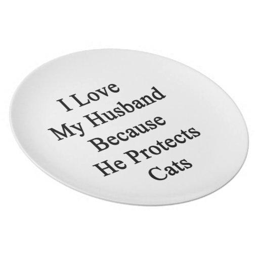 Amo a mi marido porque él protege gatos plato de cena
