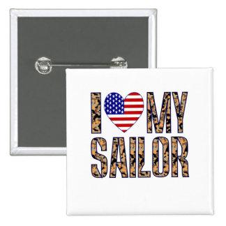 Amo a mi marinero pin cuadrado