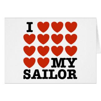 Amo a mi marinero tarjeta de felicitación