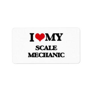Amo a mi mecánico de la escala etiquetas de dirección