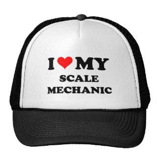 Amo a mi mecánico de la escala gorras