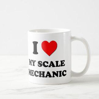 Amo a mi mecánico de la escala tazas