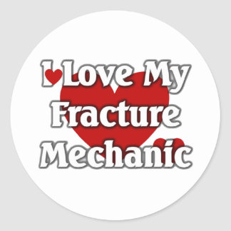 Amo a mi mecánico de la fractura pegatina redonda