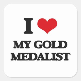 Amo a mi medallista de oro pegatinas cuadradases