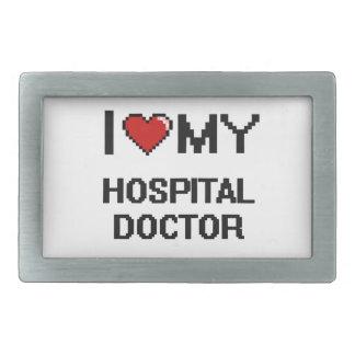 Amo a mi médico de hospital hebilla de cinturón rectangular