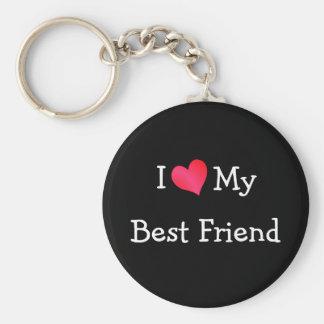 Amo a mi mejor amigo llavero redondo tipo pin