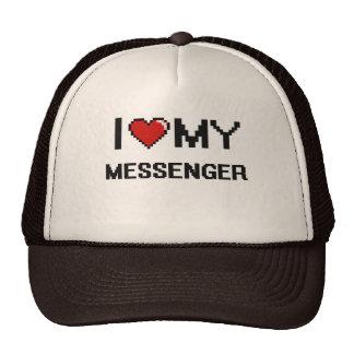 Amo a mi mensajero gorros