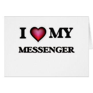 Amo a mi mensajero tarjeta de felicitación