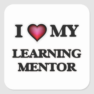 Amo a mi mentor de aprendizaje pegatina cuadrada