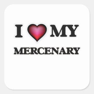 Amo a mi mercenario pegatina cuadrada