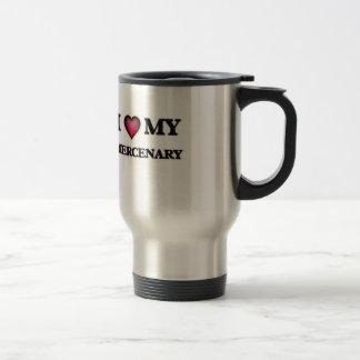 Amo a mi mercenario taza térmica