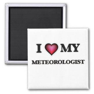 Amo a mi meteorólogo imán cuadrado