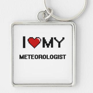 Amo a mi meteorólogo llavero cuadrado plateado