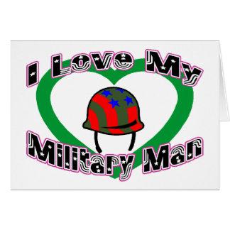Amo a mi militar tarjeta de felicitación