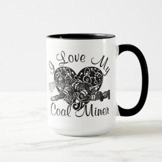 amo a mi minero de carbón taza