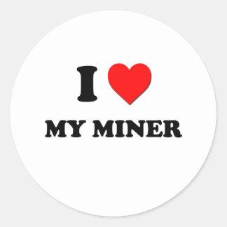 Amo a mi minero pegatinas redondas