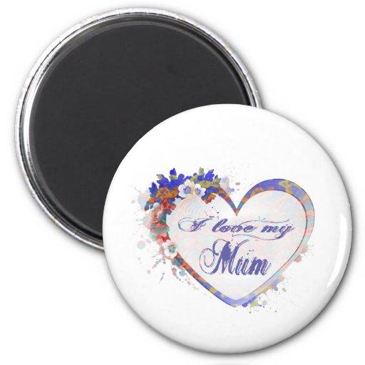 Amo a mi momia, corazón floral imán