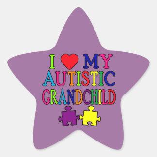 Amo a mi nieto autístico pegatina en forma de estrella