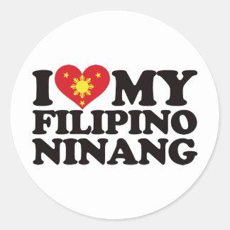 Amo a mi Ninang filipino Pegatina Redonda