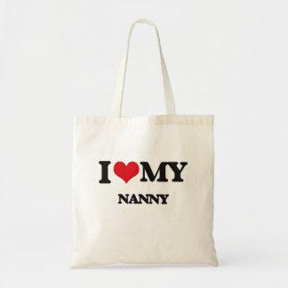 Amo a mi niñera bolsas lienzo