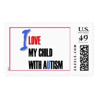Amo a mi niño con el autismo - diseño único del sello postal
