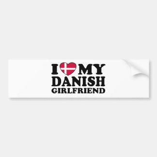 Amo a mi novia danesa etiqueta de parachoque